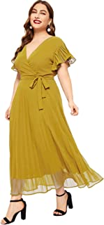 ROMWE Women's Plus Size Mesh Elegant Half Ruffle Sleeve Belted Cocktail Party Swing Midi Dress