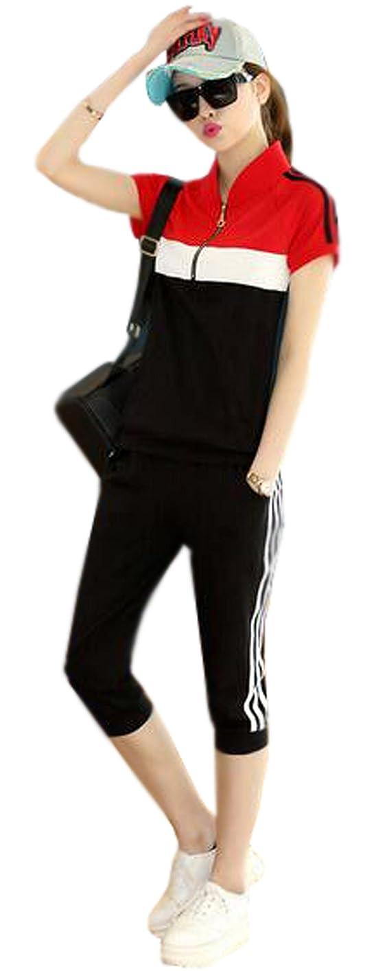 手がかり封建大陸薩牧徳レディースファッション半袖Tシャツ七分ズボン上下セットスポーツ上下セット女性部屋着
