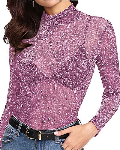 MANGOPOP Women's Glitter Sheer Mesh Tops Tee Blouse Clubwear (1111 (Violet), Large)