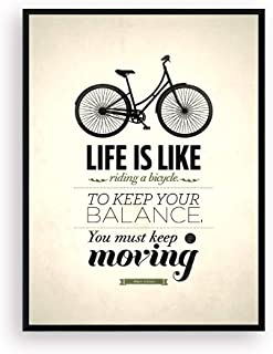 Black Border Framed Quotes Wall Decor Art, Well-known Saying Aphorism Life Is Like Riding a Bicycle, To Keep Your Balance You Must Keep Moving, Albert Einstein Inspirational Spirit Motto Canvas Prints