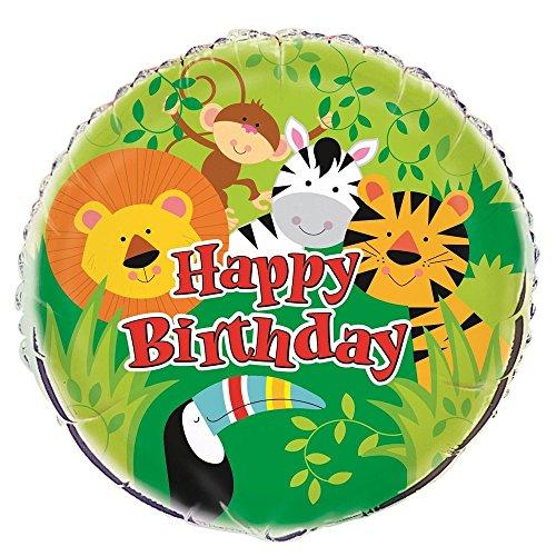 Unique Party 52167 - Ballon d'Anniversaire - 45 cm - Fête à thème des Animaux de Jungle