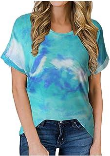 Sunhusing Women's Summer New Round Neck Short Sleeve Colorblock Tie-Dye Print Casual T-Shirt Loose Blouse Tops