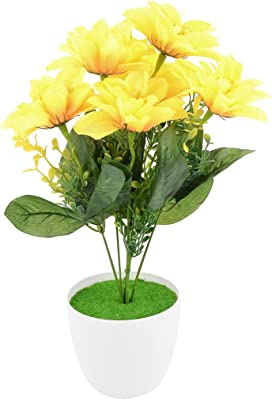uxcell Plastic Office DIY Craft Ornament Artificial Simulation Flower Bouquet Yellow