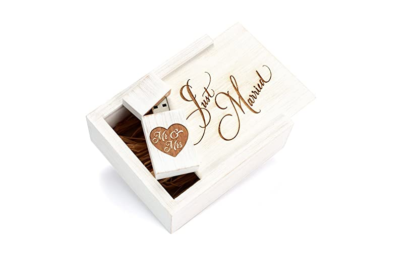 Antique Maple 8GB USB Flash Drive - Stained in Wedding White - Inserted into a Matching White Maple Box with Raffia grass inside. Laser Etched Just Married Design