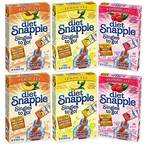 Snapple Singles To Go Diet Variety Pack -- 6 Boxes (2 Peach Tea, 2 Raspberry Tea, 2 Lemon Tea)