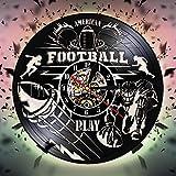 Rgzqrq Tourne-Disque Vinyle Horloge Murale de Rugby Horloge Murale de Jeu rétro nostalgique Art Déco Horloge de Rugby Jeu de Rugby (30x30cm)