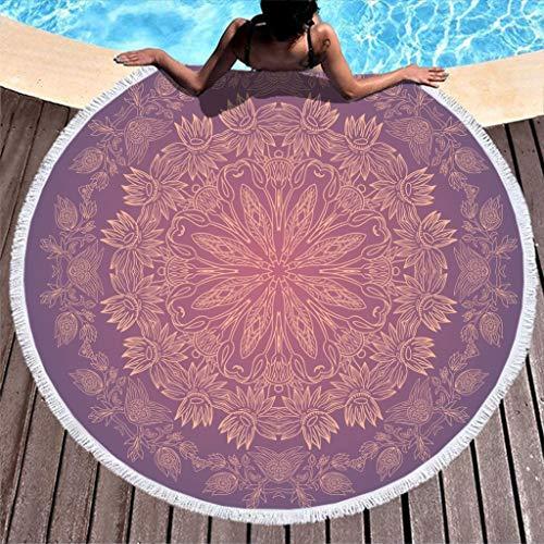 Go Go Grifendoor Toalla de playa redonda de tamaño grande, ultrasuave, para deportes al aire libre, color blanco, 150 cm