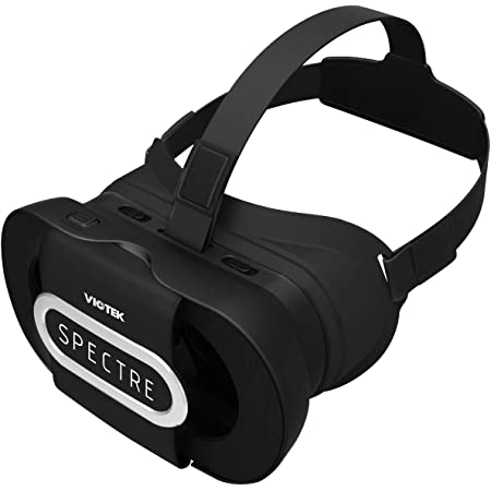 VIOTEK Spectre VR Headset for Smartphones (4.5 to 6 Inches)   Foldable, Lightweight & Comfortable for eLearning, Virtual Tours, at-Home Students   Adjustable IPD & Single Capacitive Button (Black)