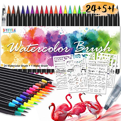 DYFFLE Brush Pen Set - [24+1Pinselstiften Aquarellpinsel+5Schablonen] Handlettering Stifte Set, Kalligraphie Set, Aquarellpinsel, Lettering Stifte Set, Manga Zeichnen Stifte für Bullet Journal Zubehör