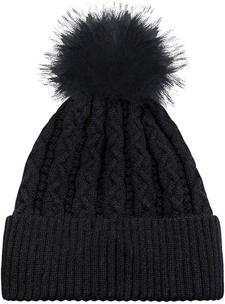 Knit Beanie Winter Hat with Pom, Warm Winter Hats Fashion Cuff Knit Cap Black