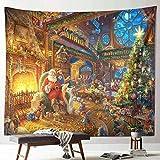 Voghtic Telón de fondo de Navidad Tapiz de Navidad de Papá Noel, Tapiz de tela de impresión 3D para colgar en la pared, Cubierta de chimenea de Navidad para dormitorio, sala de estar