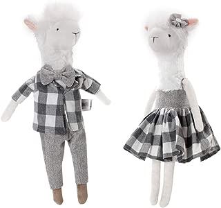 CSH Llama Plush,Cute Llama Stuffed Animal,2 pcs 15 inches Alpaca Stuffed Animals,Llama Doll Toy with Clothing,Animal Figurines,Valentines Day Birthday Christmas Wedding Anniversary Presents Gifts