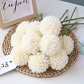 Homyu Artificial Flowers Chrysanthemum Ball Flowers Bouquet 10pcs Present for Important People Glorious Moral for Home Office Coffee House Parties and Wedding No Craft Paper(Milk White)