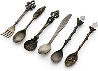 Genenic 6PCS New Mini Cutlery Dessert Metal Royal Style Vintage Spoon Coffee Fork
