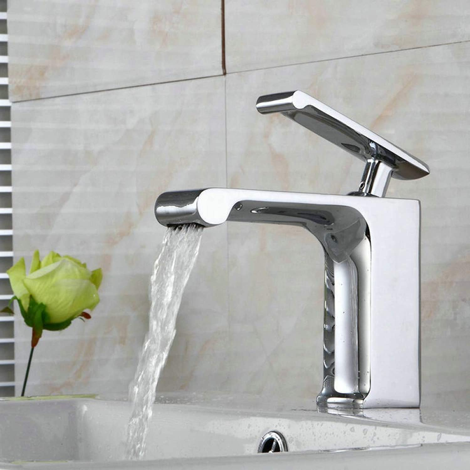 YHSGY Kitchen Taps Basin Faucets Chrome Brass Faucet Square Bathroom Sink Faucet Single Handle Deck Mounted Toilet Hot and Cold Mixer Water Tap