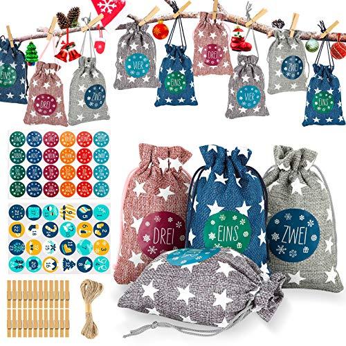 AILUKI 24 Adventskalender zum Befüllen Stoffbeutel, Weihnachten Geschenksäckchen mit 1-24 Adventszahlen Aufkleber, Weihnachtskalender tüten Geschenkbeutel Jutesäckchen Bastelset für Männer Kinder