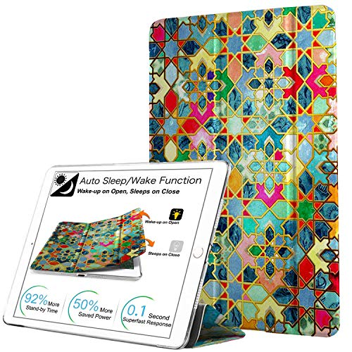 DuraSafe Cases For iPad Air 1st Gen 2013 - 9.7 Slimline Series Lightweight Protective Cover with Dual Angle Stand & Clear PC Back Shell - Damask