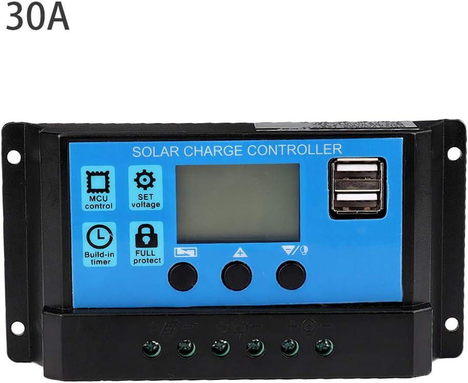 Controlador de carga solar, 60A/50A/40A/30A/20A/10A 24V Cargador solar automático Controlador de carga MPPT Panel de 12V Controladores PWM para paneles solares(30A)