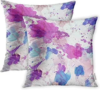 Emvency Set of 2 Throw Pillow Covers Print Polyester Zippered Colorful Abstract of Blue Rose Purple Watercolor Stains on Grey Pink Pattern Pillowcase 18x18 Square Decor for Home Bed Couch Sofa