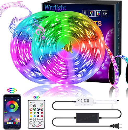 Wrrlight LED Strip Lights RGB Strips 32.8ft Tape Light 300 LEDs SMD5050 Music Sync Color Changing + Bluetooth Controller + 24Key Remote Control Decoration for Home TV Party - APP Controlled