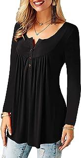 COSTRO Femmes Grande Taille Tunique Couleur Unie Noir Hauts été à Manches Longues col en V t-Shirt Chemisier t-Shirts