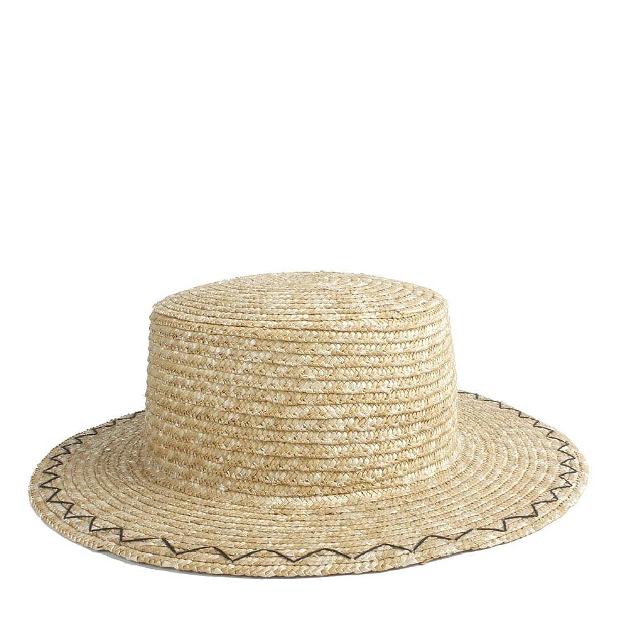 ショット言うまでもなくバケットサンハット 麦わら帽子 レディース 麦わらハット ストロー わら 春 夏 アウトドア 通勤 旅行 ビーチ JPTYL (Color : 1, Size : 56-58CM)