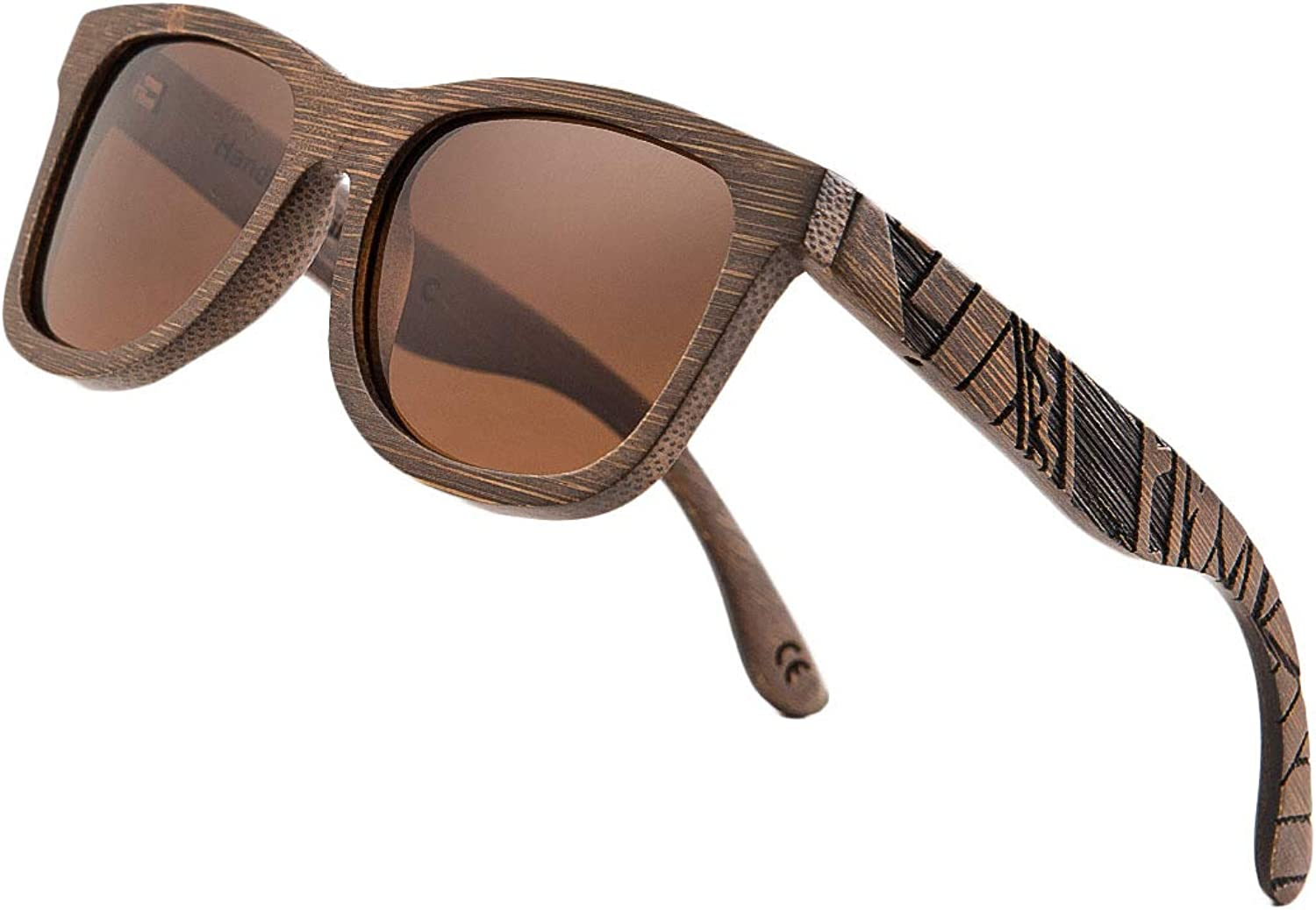 Bamboo Wood Polarized Sunglasses For Men & Women Temple Carved Collection