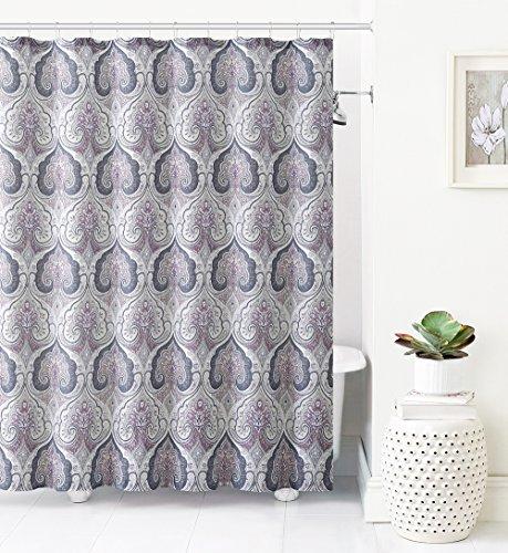 Victoria Classics Jacquard Fabric Shower Curtain: Ikat Moroccan Design (Purple-Gray-Taupe)