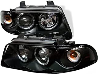 [For 1996-1999 Audi B5 A4] Black Housing LED Halo Ring Projector Headlight Headlamp Assembly, Driver & Passenger Side