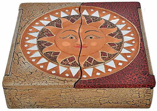 Joyero de madera de albesia ligero, pintado a mano, sol o de Buda, diseño: de sol