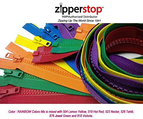 YKK- 36 Inch Vislon Sport Jacket Zippers for All Special Occasions YKK #5 Molded Plastic Separating in Rainbow Colors Mix is Mixed with 504, 519, 523, 526, 876 and 918