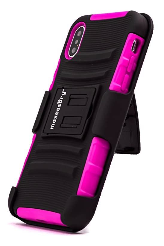 iPhone X Case, Maxessory Hot Pink Trailblazer Dual-Layer Heavy-Duty Hybrid + Built-in Belt Clip Holster w/Rigid Rugged Kickstand Protective Armor Cover