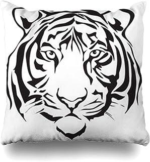 Klotr Fundas para Almohadas Black Face Tiger Head Wildlife Bengal Tattoo Pattern Drawing Graphic Tigeranimals Danger Pillowcase Square Size 18 X 18 Inches Home Decor Cushion Cases