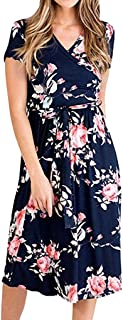 Dubocu Women Dress Short Sleeve V Neck Summer Floral Fancy Bohemian Casual Short Mini Dress Beach Sundress With Belt
