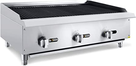 Chef's Exclusive CE778 Commercial Countertop Stainless Steel 36 Inch Char Rock Char Broiler Charbroiler Grill Liquid Propane LP Gas, 105,000 BTU Per Hour 30KW, Metallic
