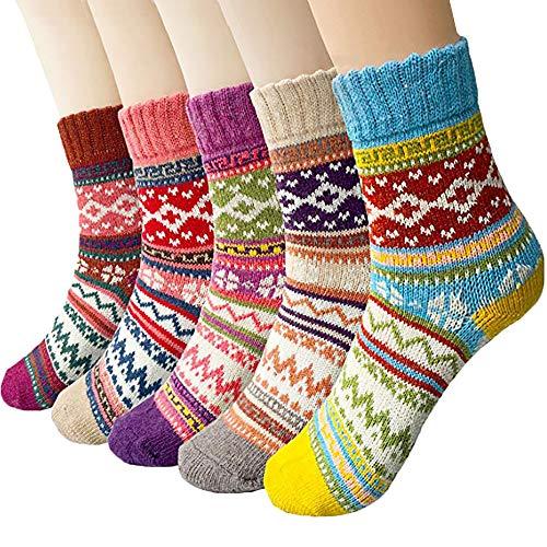 HDY 5 Paar Damen Socken, Wandersocken Warme Dicke Kuschelsocken Thermosocken, atmungsaktive Funktionssocken für alle Aktivitäten Damen 35-41