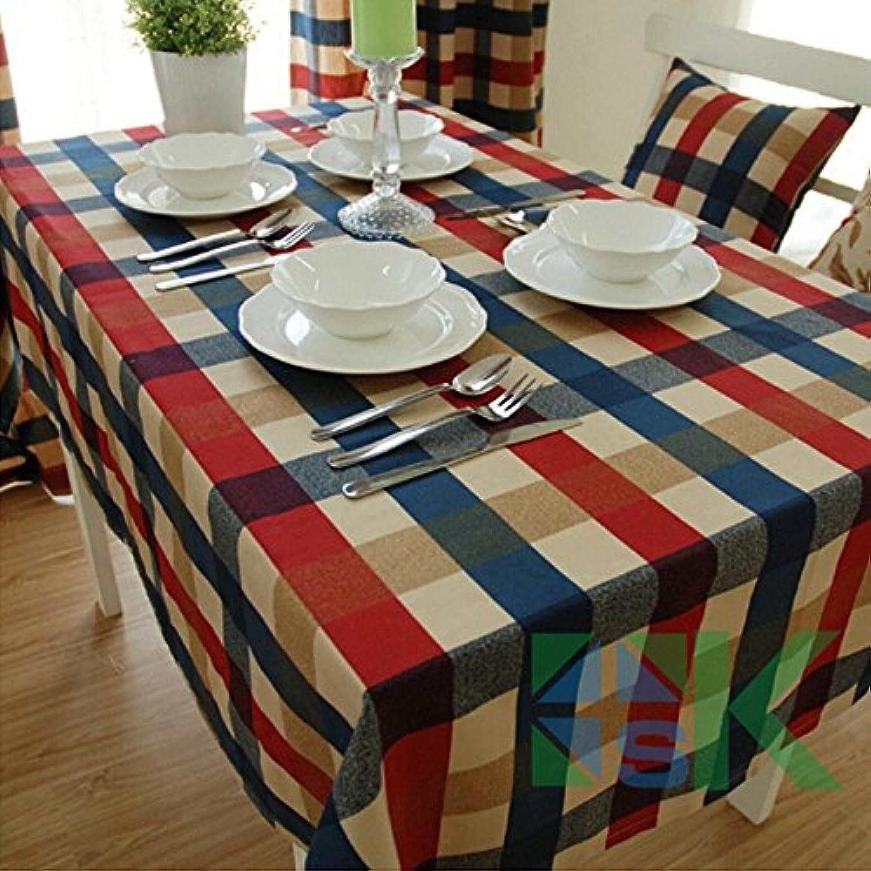 BlauLSS Rustikal 100% Baumwolle Quadratische Tischdecke moderne Kurze karierte Tischdecke tuch Esstisch tuch Tabelle 130  130 cm B07B2ZTF1Z Heißer Verkauf  | Schöne Farbe