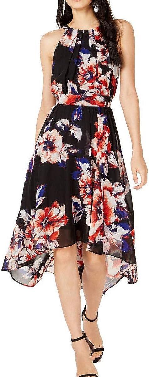 INC Womens Floral Asymmetric Midi Dress