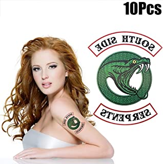 Temporary Tattoos for Women Kids 10 Pcs Riverdale Southside Serpents Fake Tattoo Body Sticker Waterproof Hand Neck Wrist Art Fashion Adults Men Teens