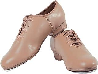 SANSHA Men's Unisex Oxford Style Leather Shoes with Professional Taps Flat