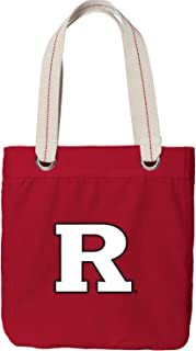 Broad Bay Rutgers University Tote Bag Rich Dye Washed RED Cotton Canvas