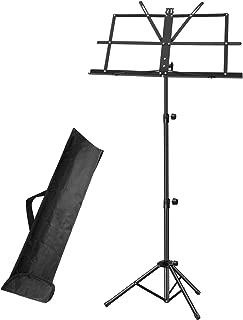 楽譜スタンド ホルダー/ポータブル折りたたみ譜面台 スーパー丈夫調節可能な高さ三脚ベースメタル譜面台 軽量コンパクト&キャリングバッグ付きトラベル ブラック