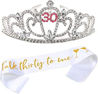 30th Birthday Decorations Rhinestone Birthday Crowns and Sash for Women Crown Cake Topper Dirty 30 Birthday Party Supplies Photo Booth Props Dirty Thirty Metal Birthday Tiaras Gifts for Women