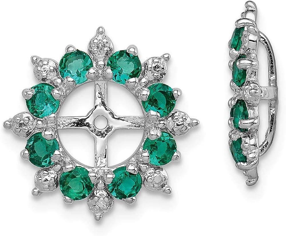 Sterling Silver Rhodium Popular Diam. Jacket Earring Created Max 68% OFF Emerald