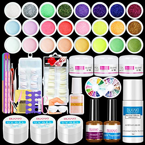 BUKAKI Acrylic Nail Kit - Nail Acrylic Powder and Liquid Set with Acrylic Nail Brush Glitter Powder...