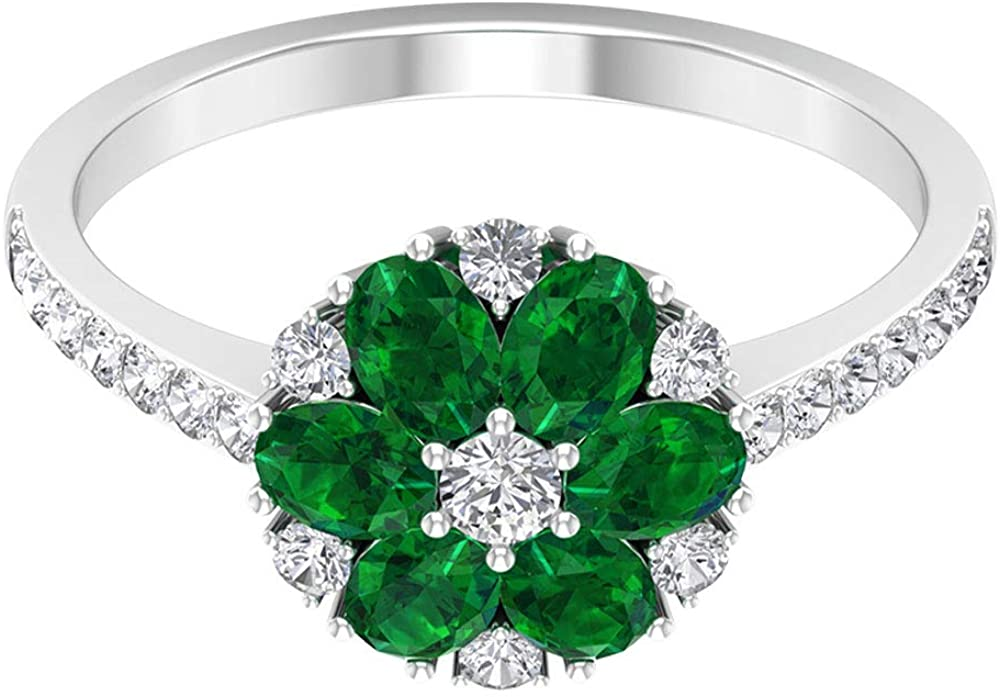 1.32 Ct Emerald Diffused Flower Ring, 1/2 Ct Diamond Custer Ring, Unique Engagement Ring, Oval Shape May Birthstone Ring, Statement Wedding Ring, Cocktail Ring, 14K Gold
