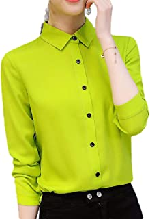 neveraway Womens Button-Front Long-Sleeve Fashion Chiffon Solid Fit Western Shirt