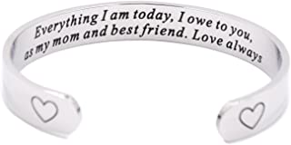 LParkin Mother of The Bride Gift Everything I am Today I Owe to You Cuff Bracelet