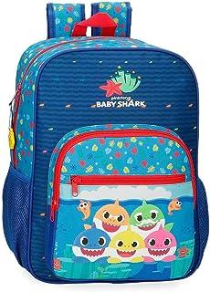 Baby Shark Glad familj förskola ryggsäck, BLÅ, 28,5x38x12 cms, Anpassningsbar ryggsäck 38