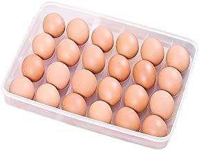 ZIXAD Unbreakable Egg Box, Egg Storage Box with Lid, for 24 Eggs, Transparent, Plastic